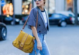 PARIS, FRANCE - OCTOBER 03: Fashion blogger Negin Mirsalehi wearing a Chloe Lexa bag, and denim jeans and a plaid jacket on October 3, 2016 in Paris, France. (Photo by Christian Vierig/Getty Images)